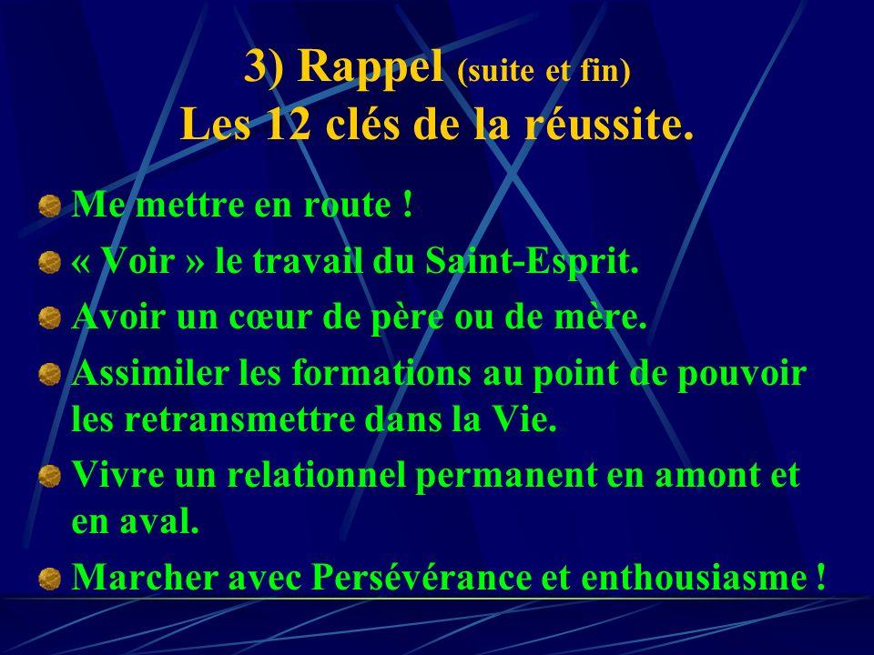 3) Rappel (suite et fin) Les 12 clés de la réussite.