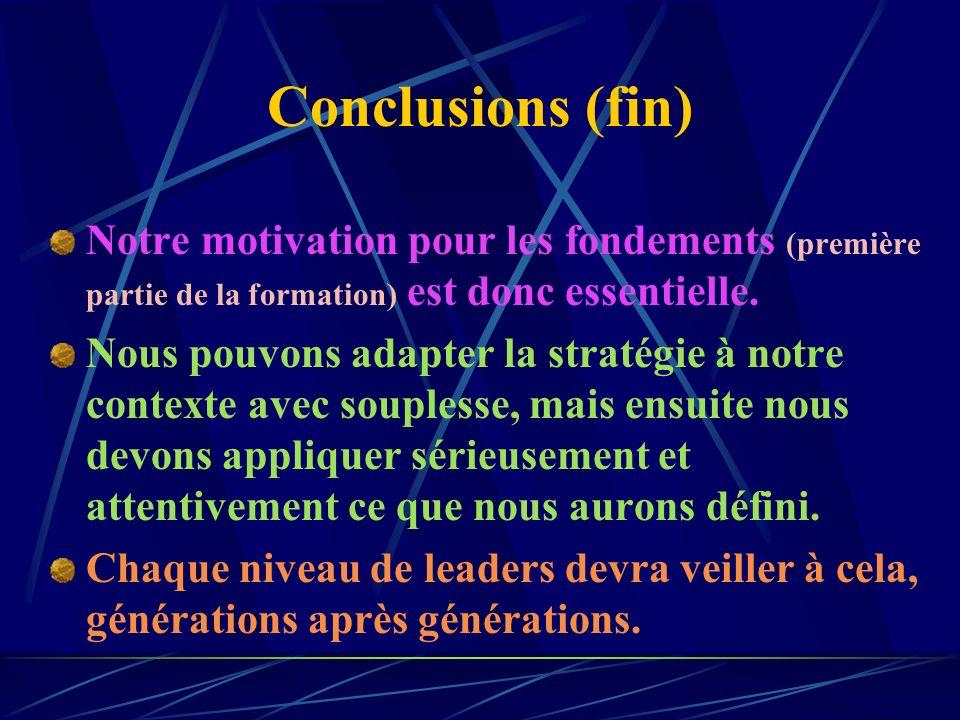 Conclusions (fin) Notre motivation pour les fondements (première partie de la formation) est donc essentielle.