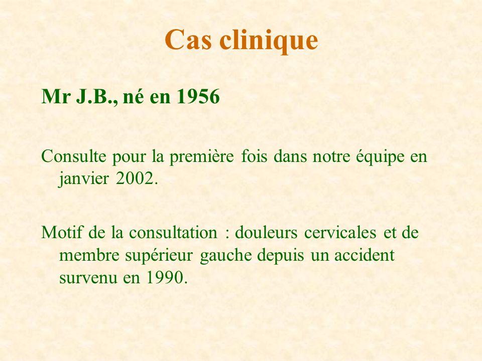 Cas clinique Mr J.B., né en 1956. Consulte pour la première fois dans notre équipe en janvier 2002.