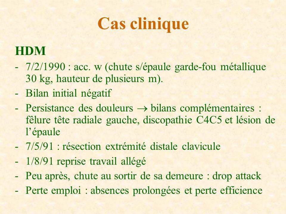 Cas clinique HDM. 7/2/1990 : acc. w (chute s/épaule garde-fou métallique 30 kg, hauteur de plusieurs m).
