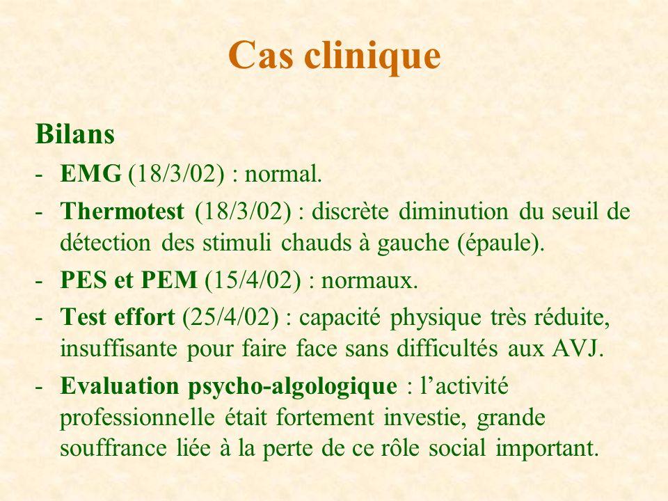 Cas clinique Bilans EMG (18/3/02) : normal.