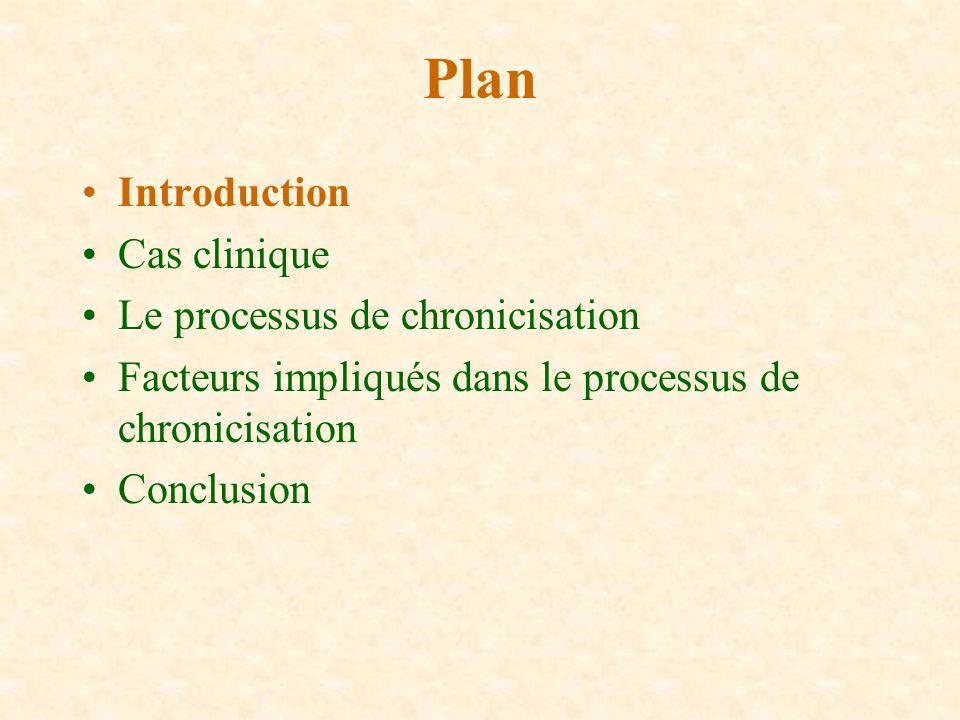 Plan Introduction Cas clinique Le processus de chronicisation