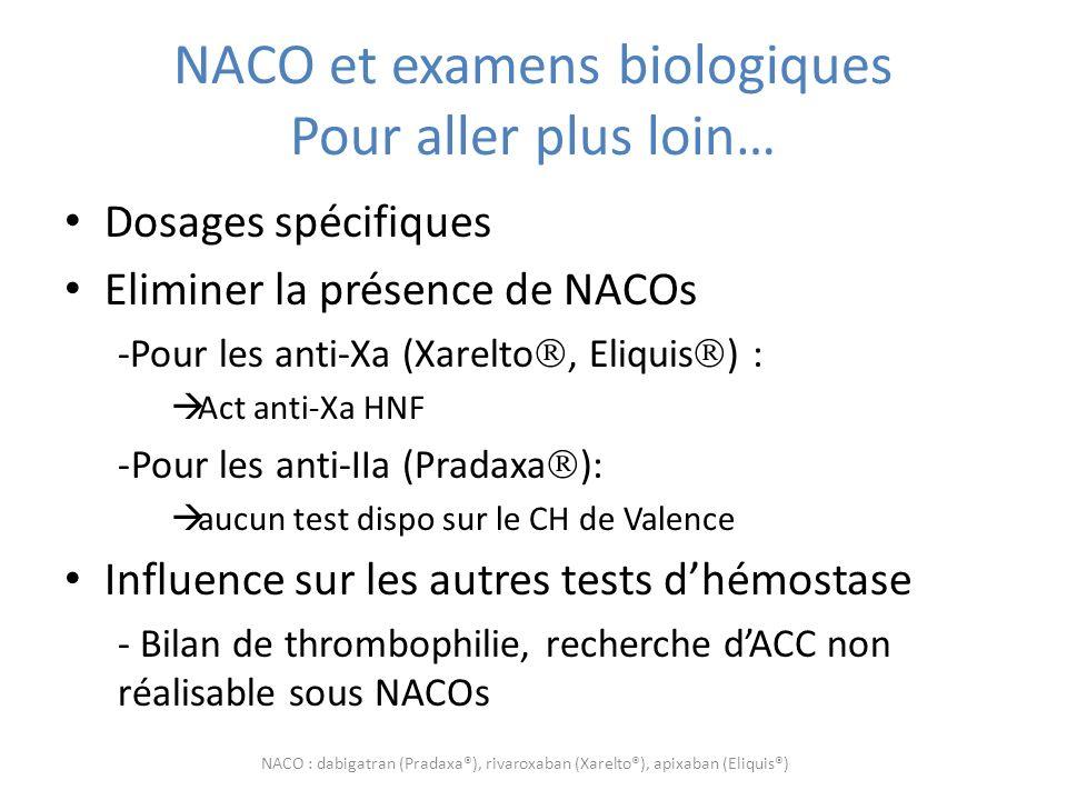 NACO et examens biologiques Pour aller plus loin…
