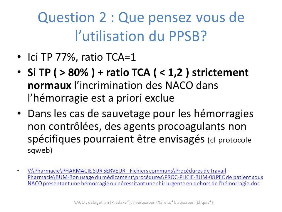 Question 2 : Que pensez vous de l'utilisation du PPSB