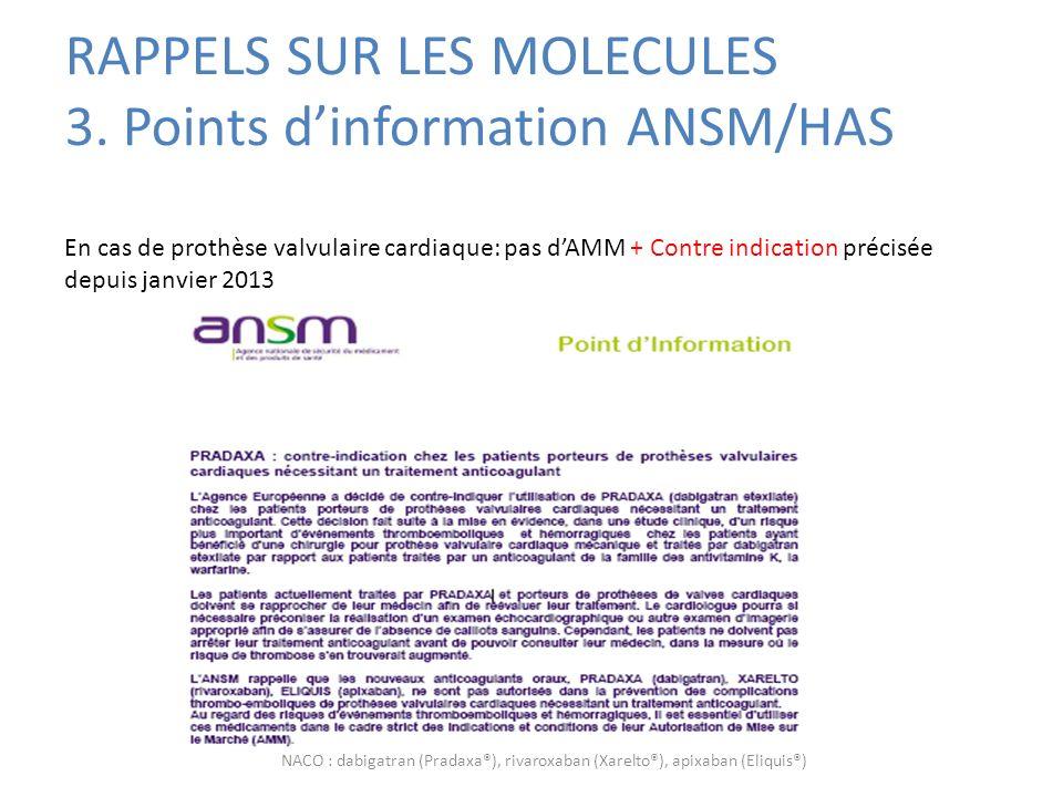 RAPPELS SUR LES MOLECULES 3. Points d'information ANSM/HAS