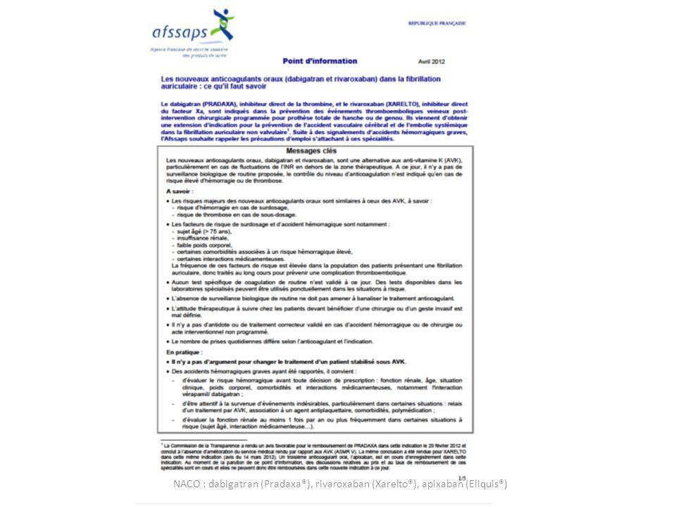 NACO : dabigatran (Pradaxa®), rivaroxaban (Xarelto®), apixaban (Eliquis®)