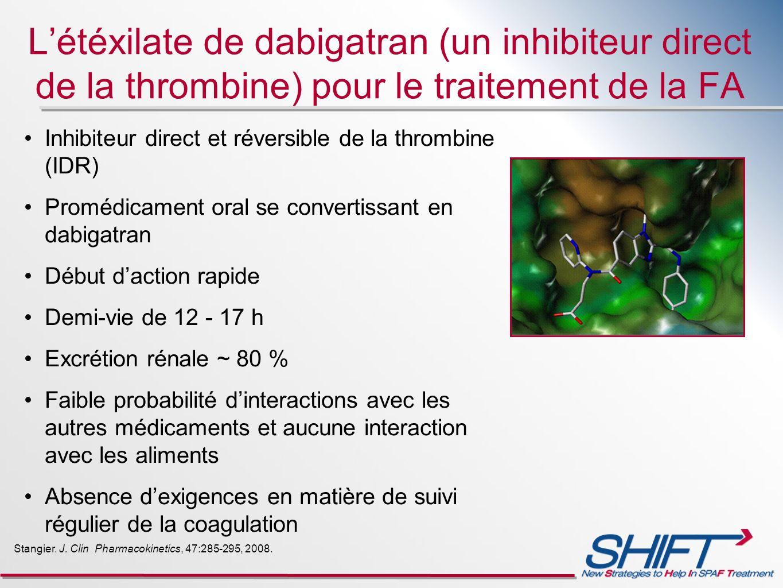 L'étéxilate de dabigatran (un inhibiteur direct de la thrombine) pour le traitement de la FA