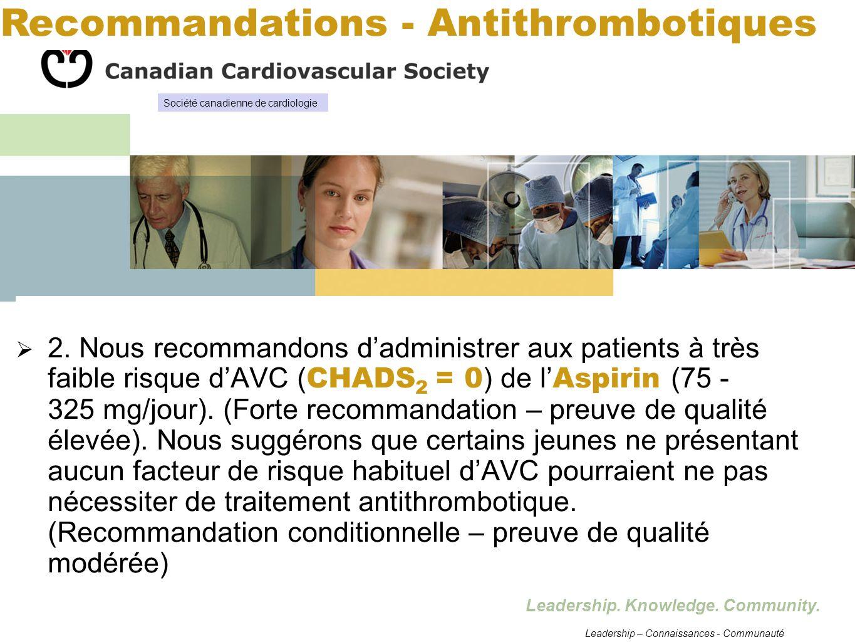 Recommandations - Antithrombotiques