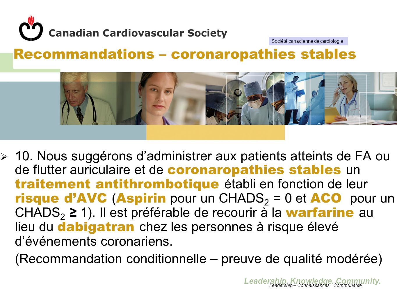 Recommandations – coronaropathies stables