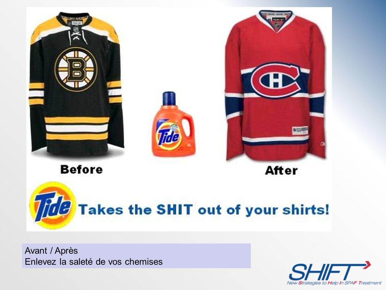 Avant / Après Enlevez la saleté de vos chemises