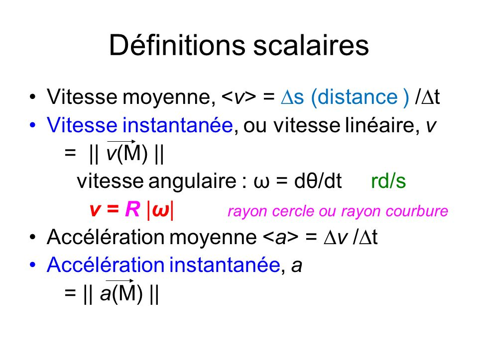 Définitions scalaires
