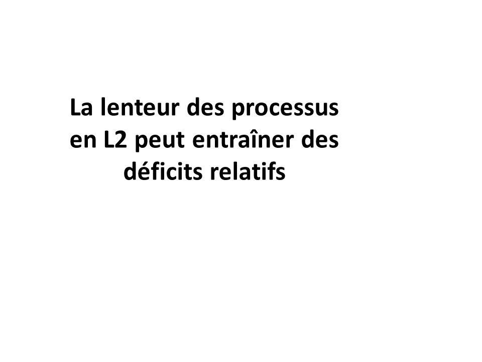 La lenteur des processus en L2 peut entraîner des déficits relatifs