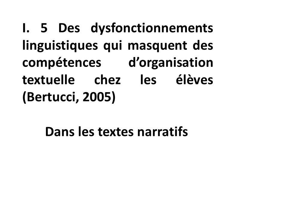 I. 5 Des dysfonctionnements linguistiques qui masquent des compétences d'organisation textuelle chez les élèves (Bertucci, 2005)