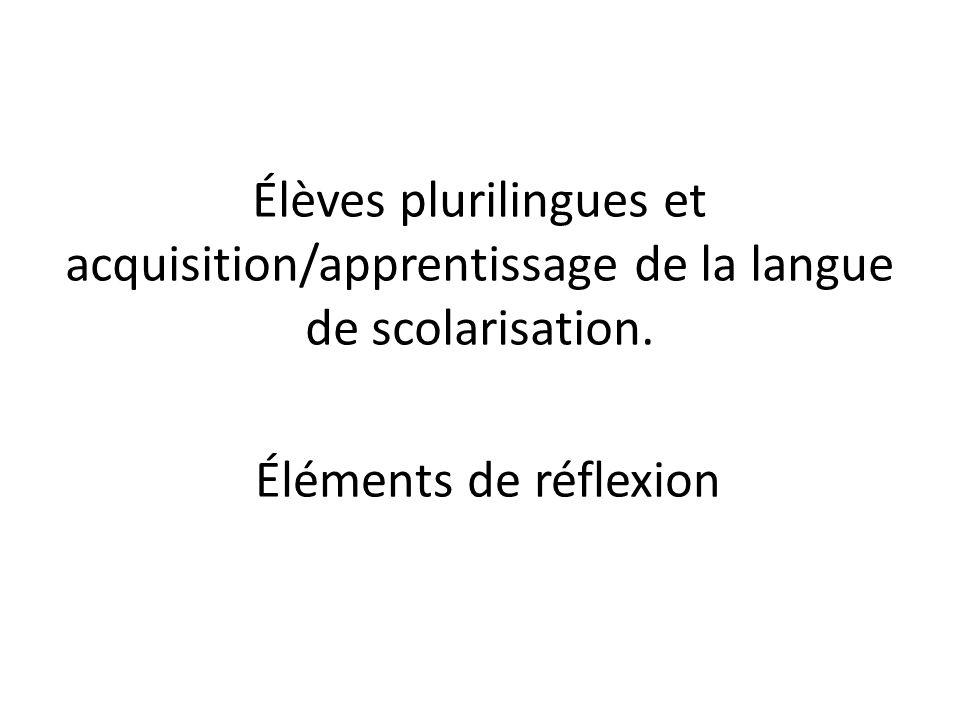 Élèves plurilingues et acquisition/apprentissage de la langue de scolarisation.