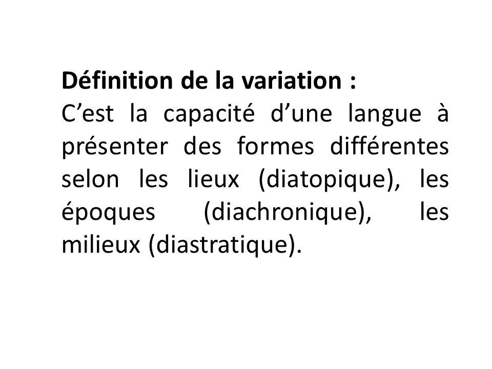 Définition de la variation :