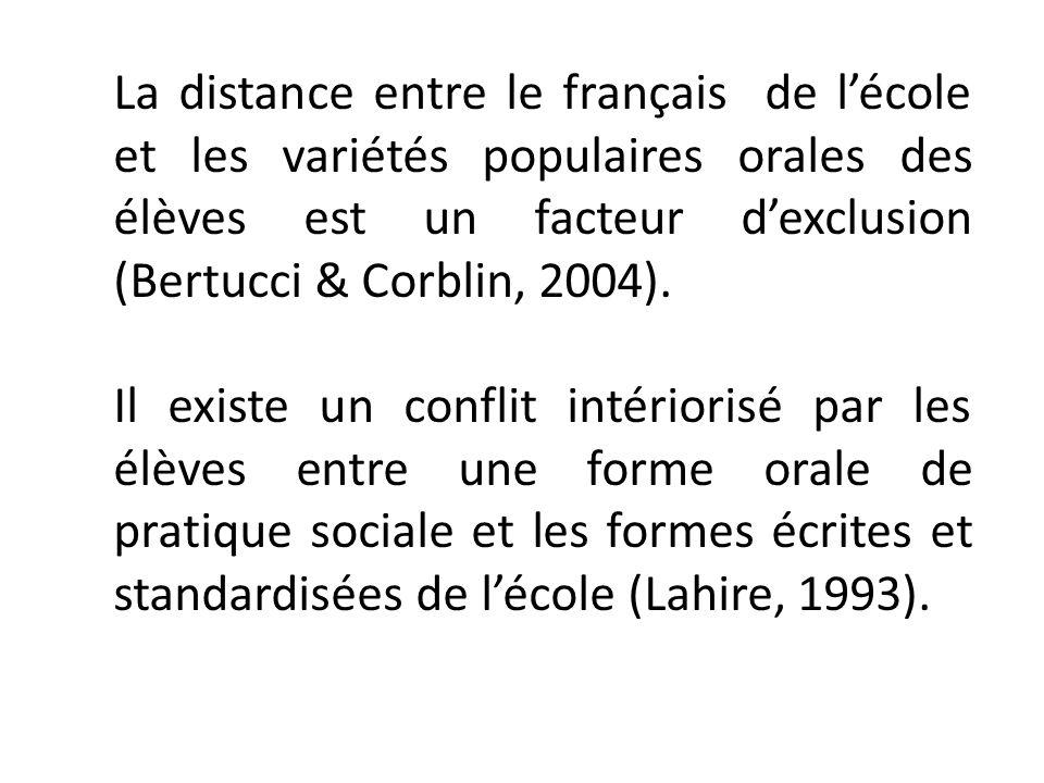 La distance entre le français de l'école et les variétés populaires orales des élèves est un facteur d'exclusion (Bertucci & Corblin, 2004).