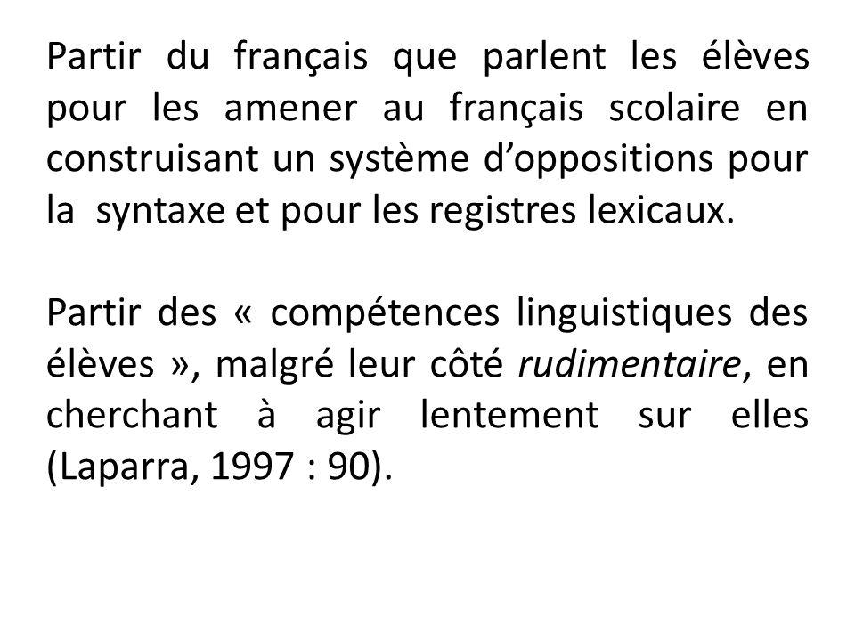 Partir du français que parlent les élèves pour les amener au français scolaire en construisant un système d'oppositions pour la syntaxe et pour les registres lexicaux.
