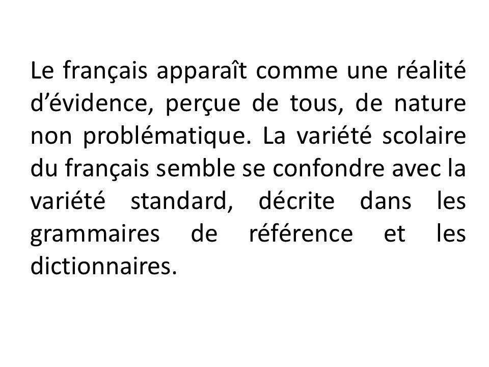 Le français apparaît comme une réalité d'évidence, perçue de tous, de nature non problématique.