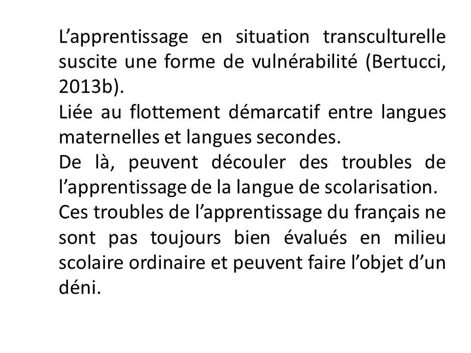 L'apprentissage en situation transculturelle suscite une forme de vulnérabilité (Bertucci, 2013b).