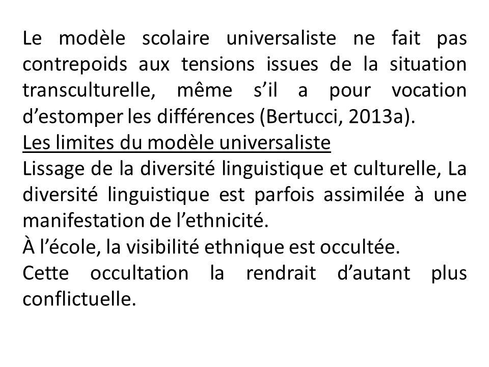 Le modèle scolaire universaliste ne fait pas contrepoids aux tensions issues de la situation transculturelle, même s'il a pour vocation d'estomper les différences (Bertucci, 2013a).