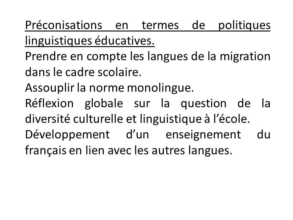 Préconisations en termes de politiques linguistiques éducatives.