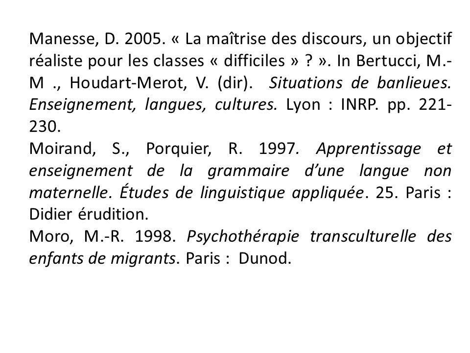 Manesse, D. 2005. « La maîtrise des discours, un objectif réaliste pour les classes « difficiles » ». In Bertucci, M.-M ., Houdart-Merot, V. (dir). Situations de banlieues. Enseignement, langues, cultures. Lyon : INRP. pp. 221-230.