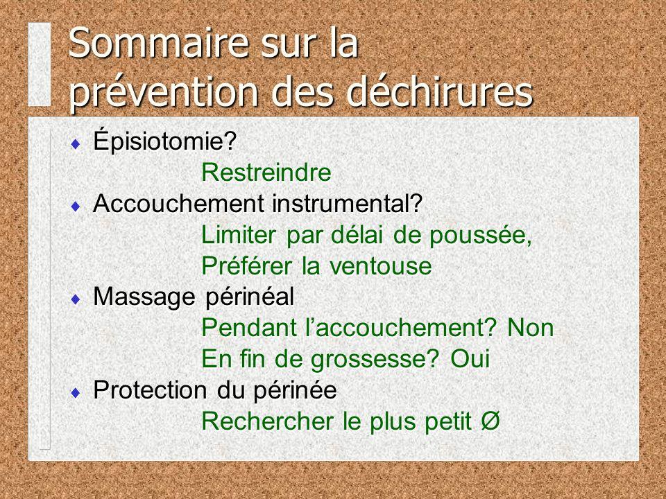 Sommaire sur la prévention des déchirures
