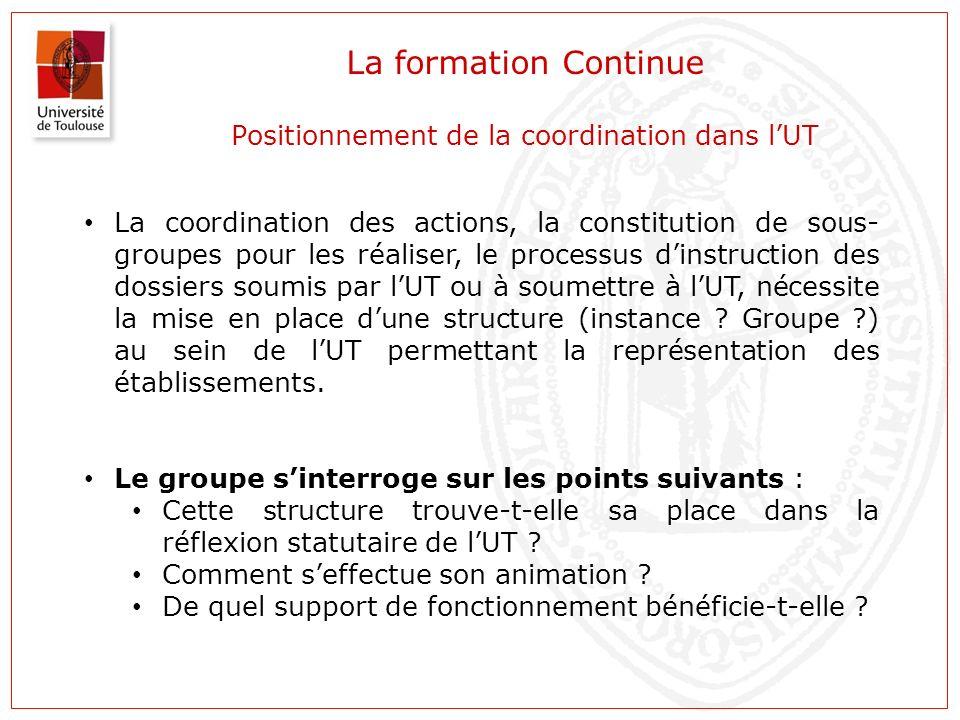 La formation Continue Positionnement de la coordination dans l'UT