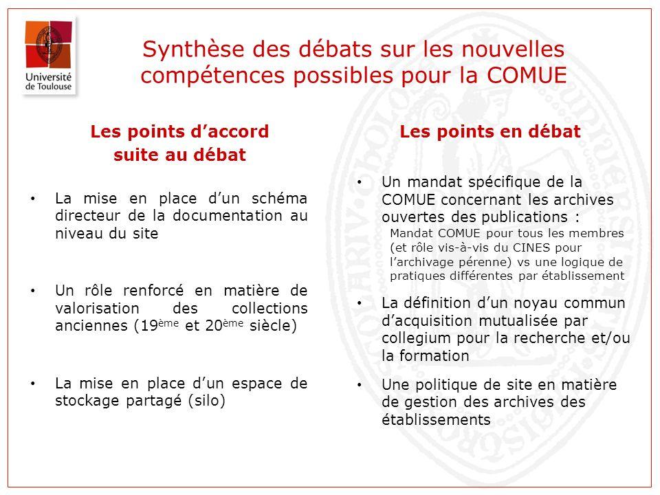 Synthèse des débats sur les nouvelles compétences possibles pour la COMUE