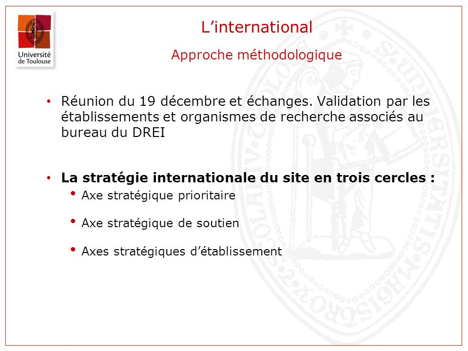 L'international Approche méthodologique