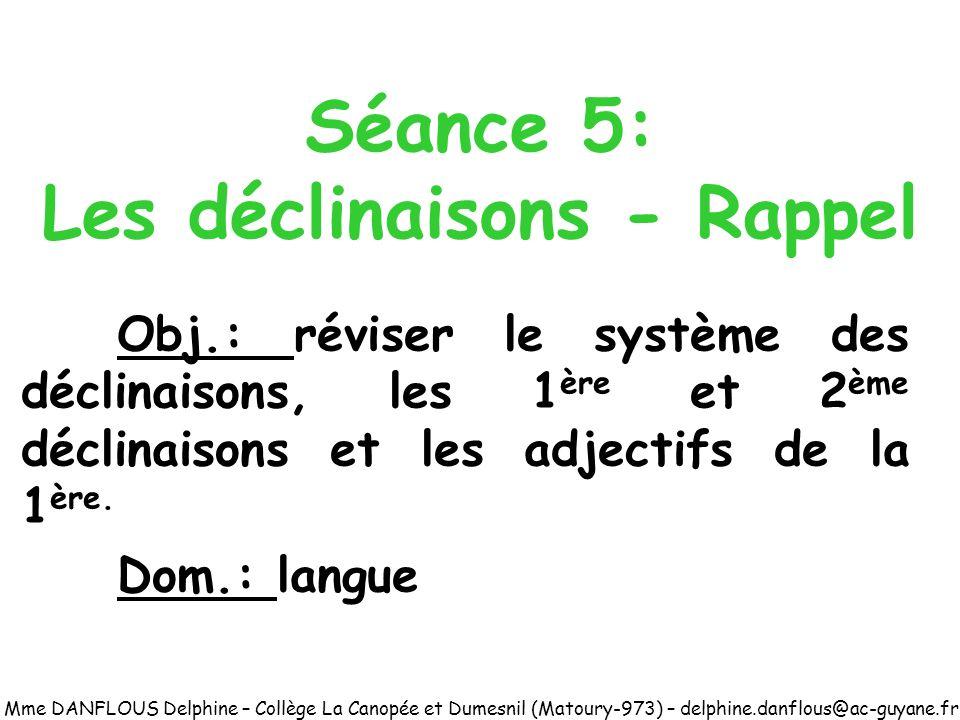 Séance 5: Les déclinaisons - Rappel