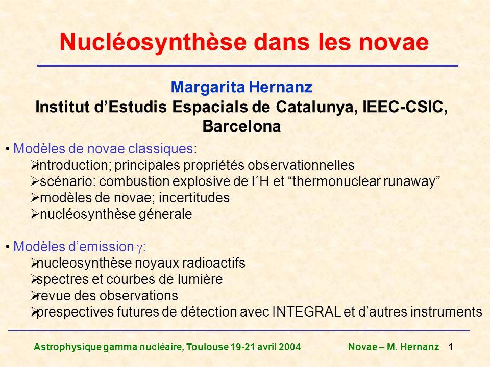 Nucléosynthèse dans les novae