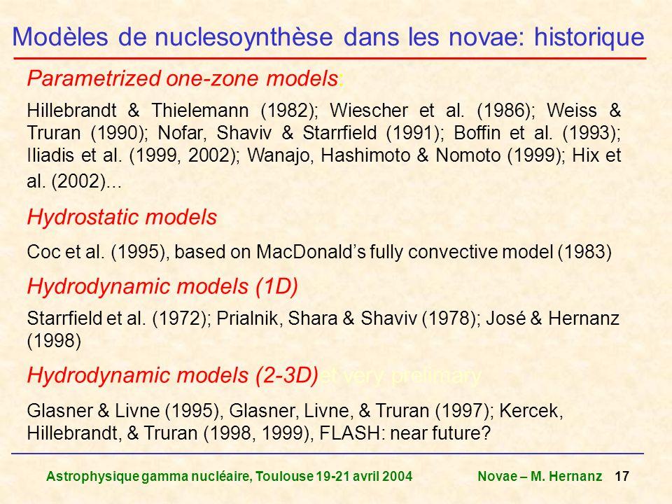Modèles de nuclesoynthèse dans les novae: historique
