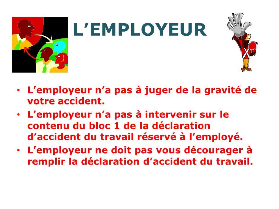 L'EMPLOYEUR L'employeur n'a pas à juger de la gravité de votre accident.