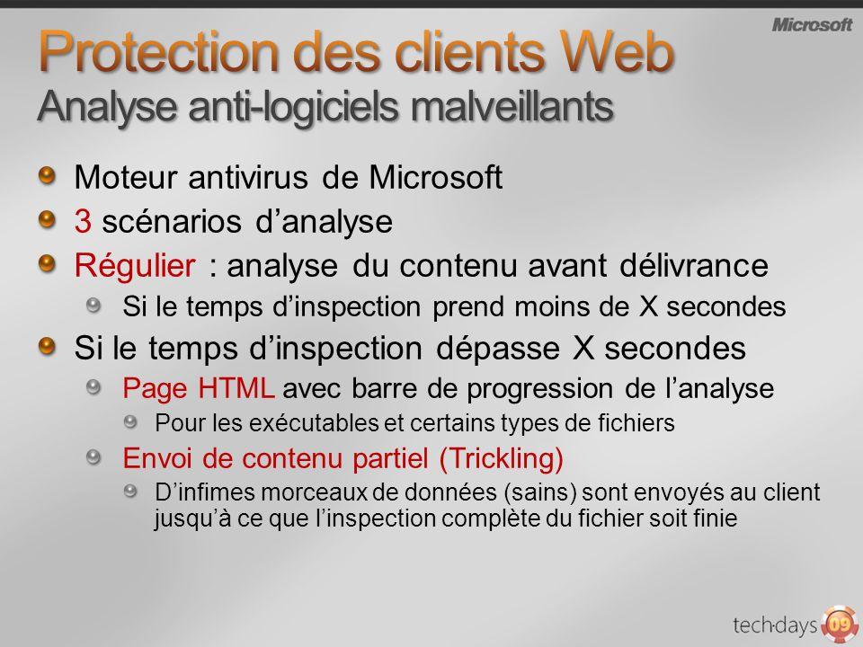 Protection des clients Web Analyse anti-logiciels malveillants