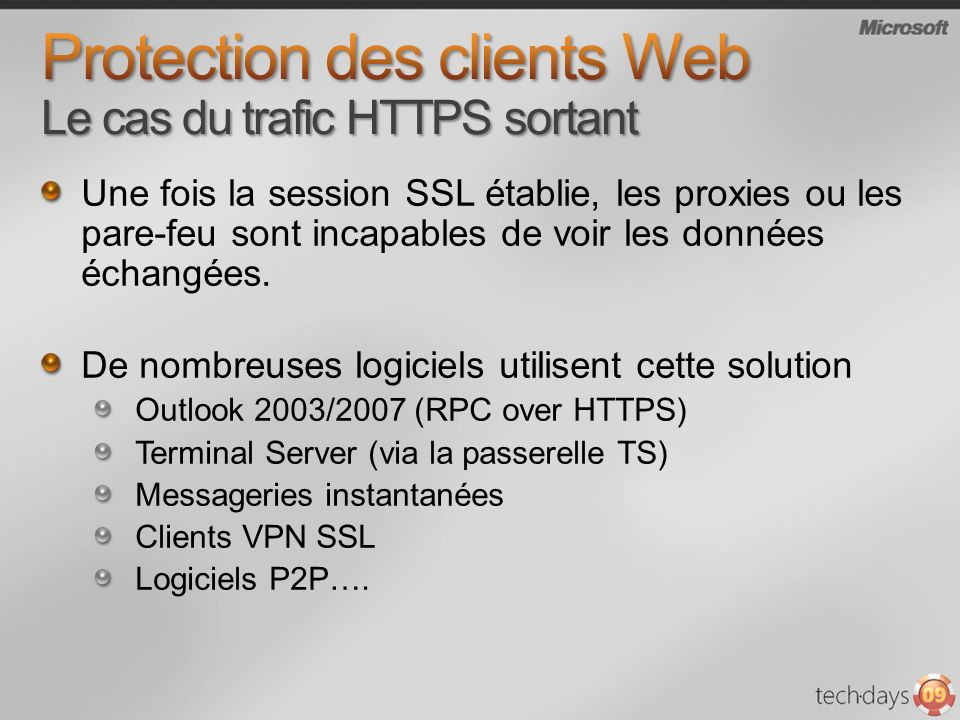 Protection des clients Web Le cas du trafic HTTPS sortant