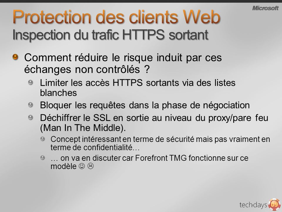 Protection des clients Web Inspection du trafic HTTPS sortant
