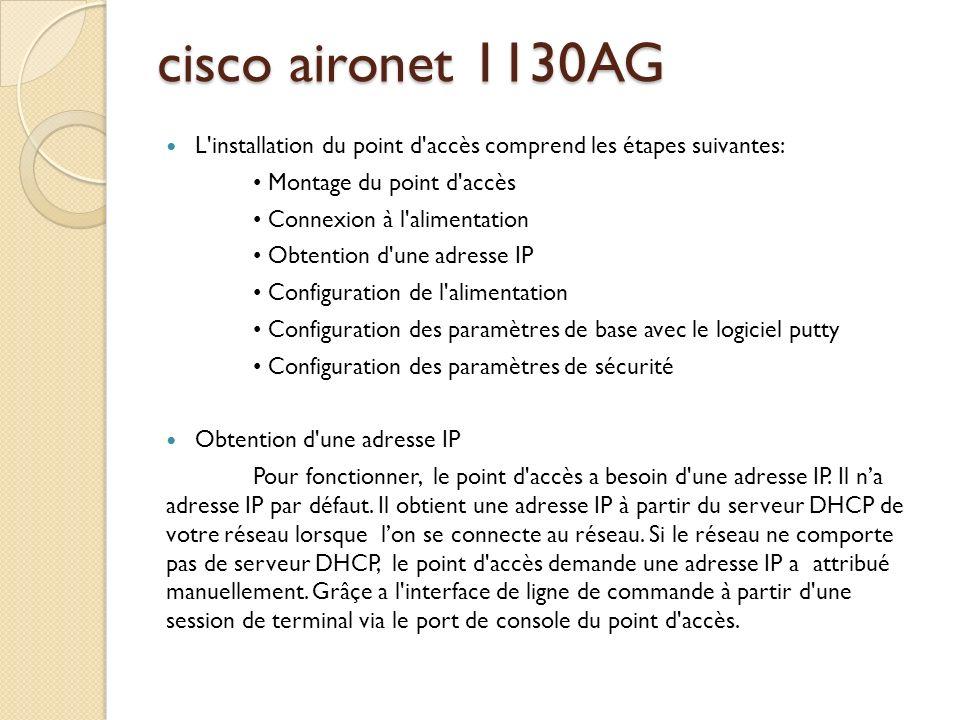 cisco aironet 1130AG L installation du point d accès comprend les étapes suivantes: • Montage du point d accès.