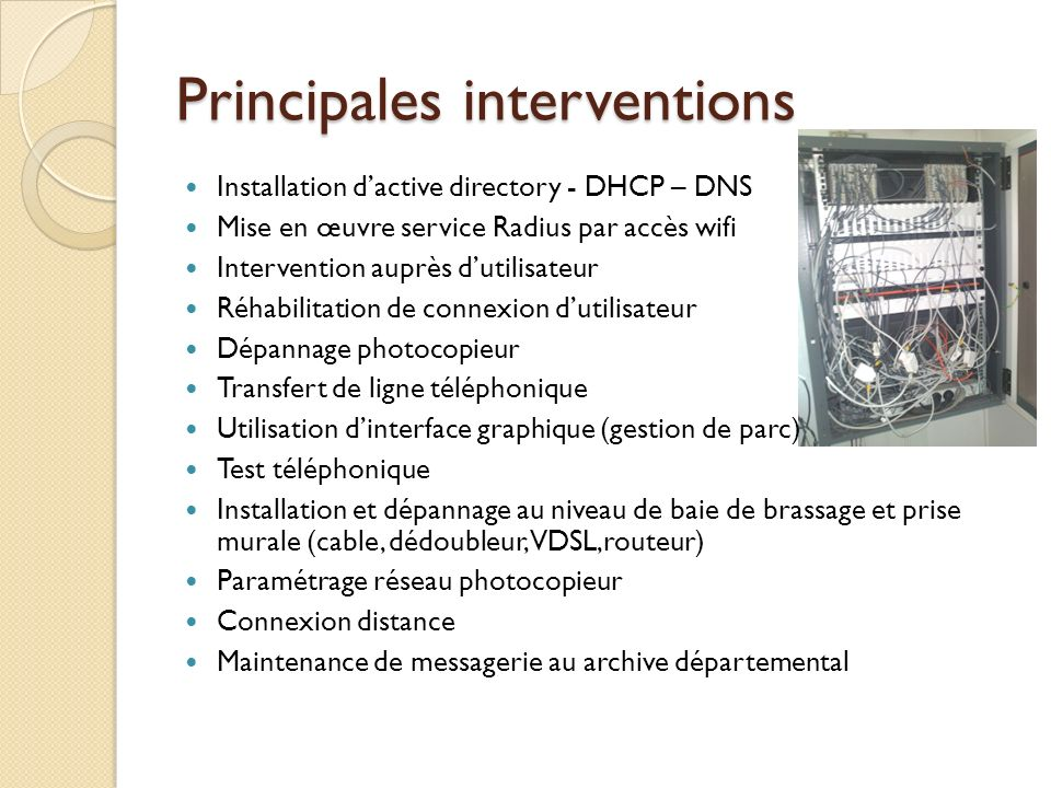 Principales interventions