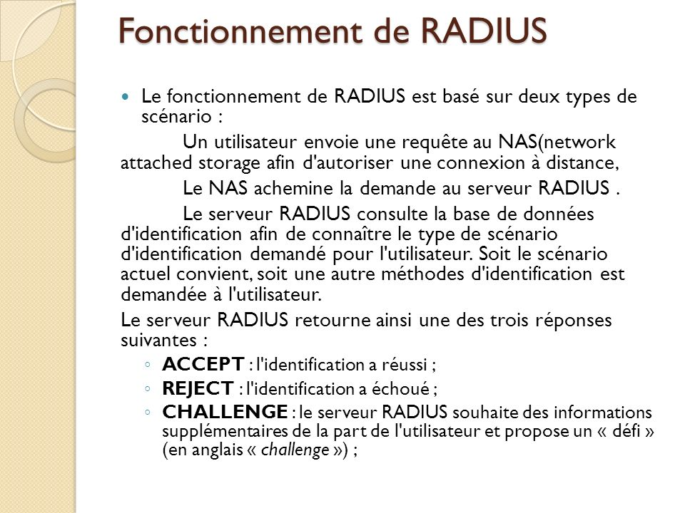 Fonctionnement de RADIUS