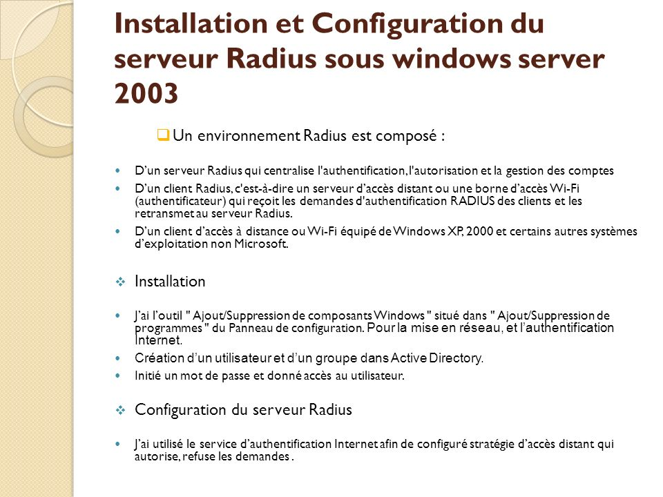 Installation et Configuration du serveur Radius sous windows server 2003