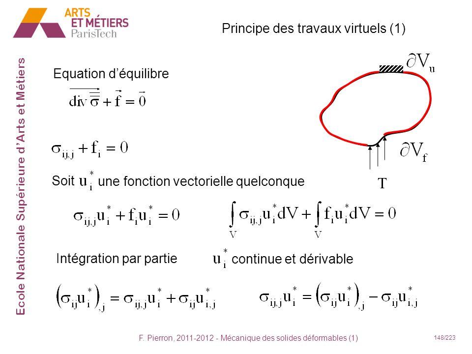 T Principe des travaux virtuels (1) Equation d'équilibre Soit