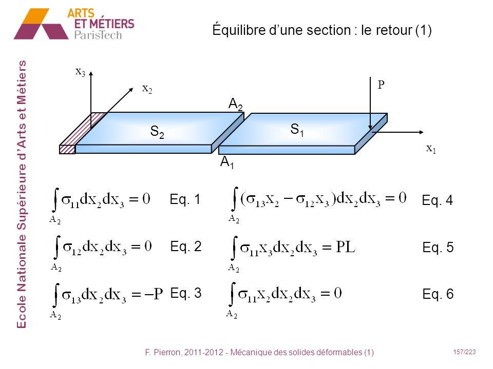 Équilibre d'une section : le retour (1)