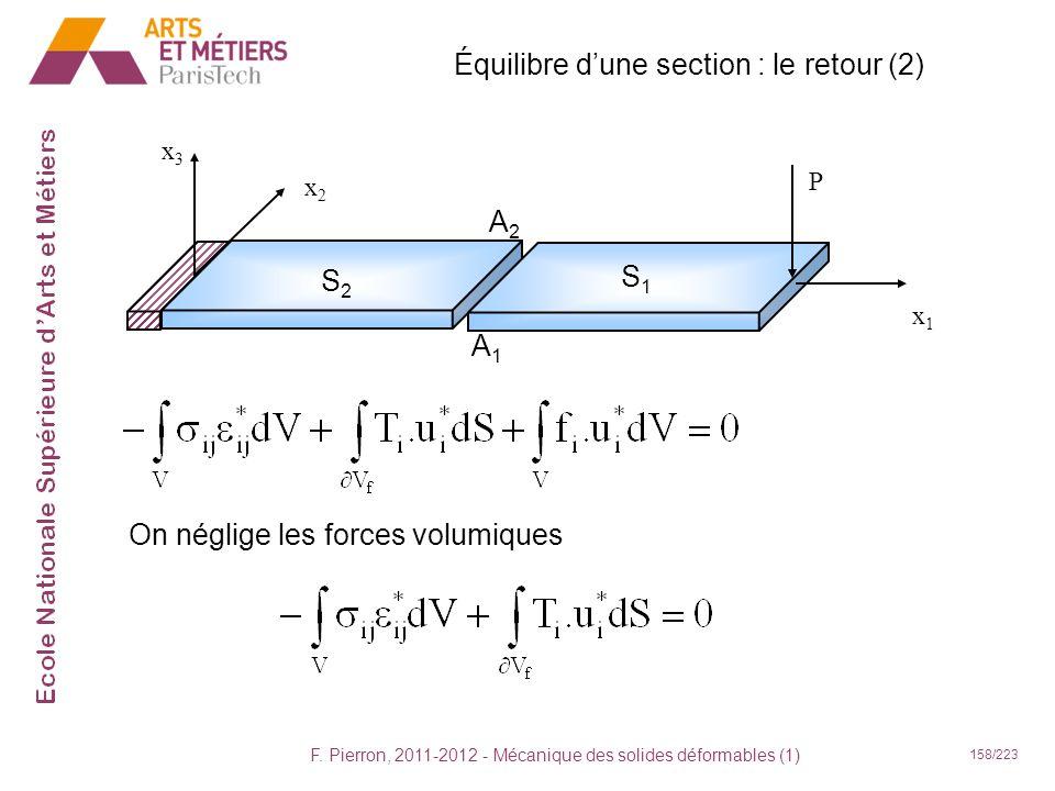 Équilibre d'une section : le retour (2)