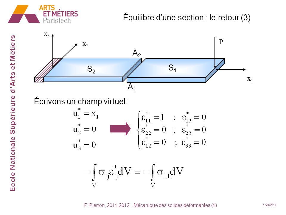 Équilibre d'une section : le retour (3)