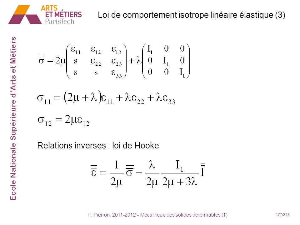 Loi de comportement isotrope linéaire élastique (3)