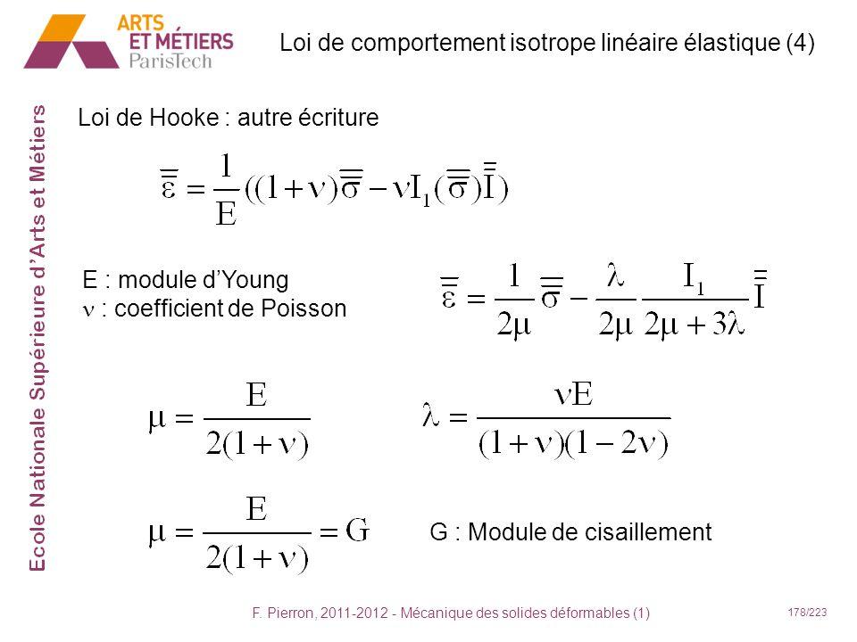 Loi de comportement isotrope linéaire élastique (4)
