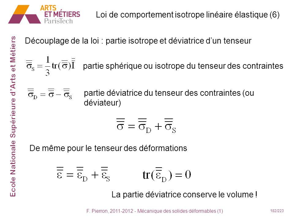 Loi de comportement isotrope linéaire élastique (6)