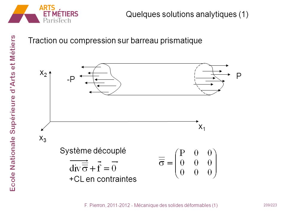 Quelques solutions analytiques (1)