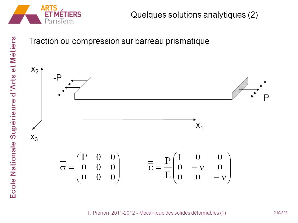 Quelques solutions analytiques (2)